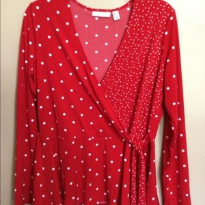 Susan Graver red polka  dot Sm long sl wrap look
